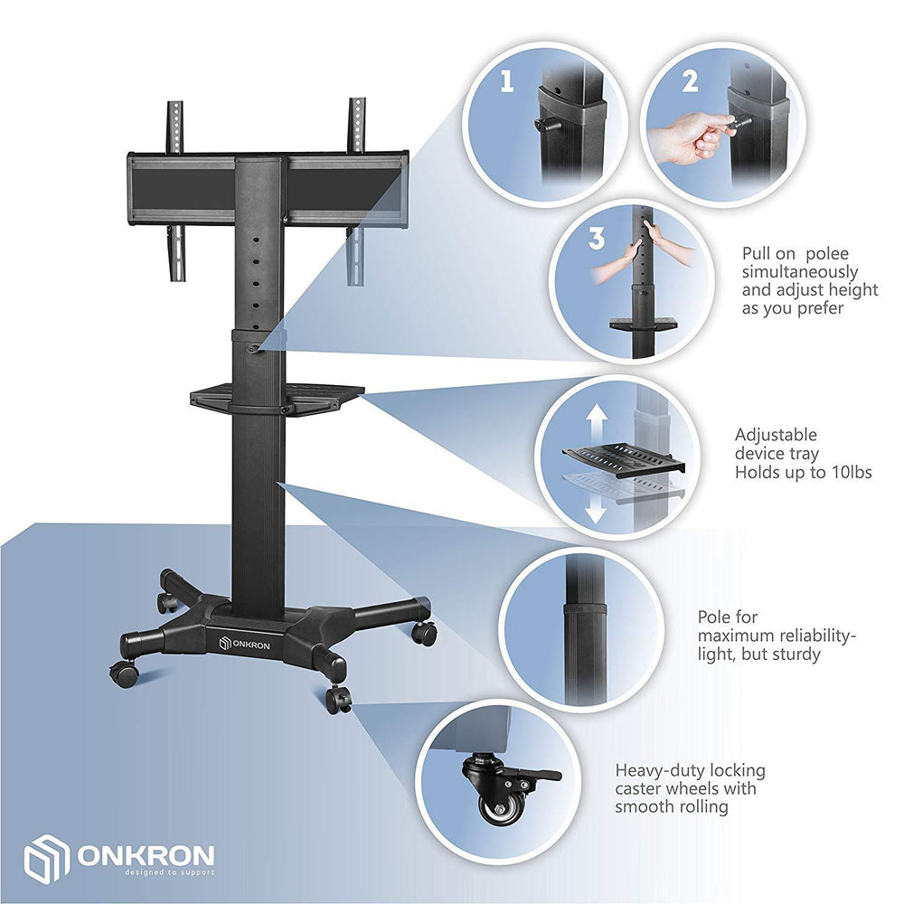 "ONKRON Mobile TV Mount TV Cart for 32"" - 55"" LCD LED Flat Screens on wheels w/ Shelves Height Adjustable (TS2551)"