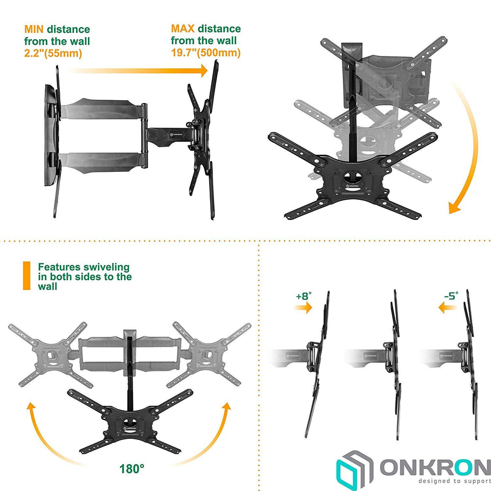 "Onkron TV Mount for Flat Panel TV Screens 32""-55"" up to 77 lbs, Wall Mount for Curved Screens, M4 Black"