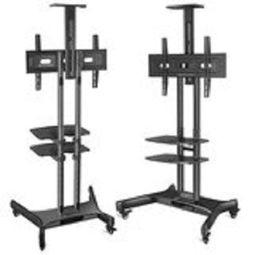"Onkron Mobile TV Cart TV Stand w/Mount for Most 32"" to 65"" Flat Screens up to 100 lbs, TS1552 Black"