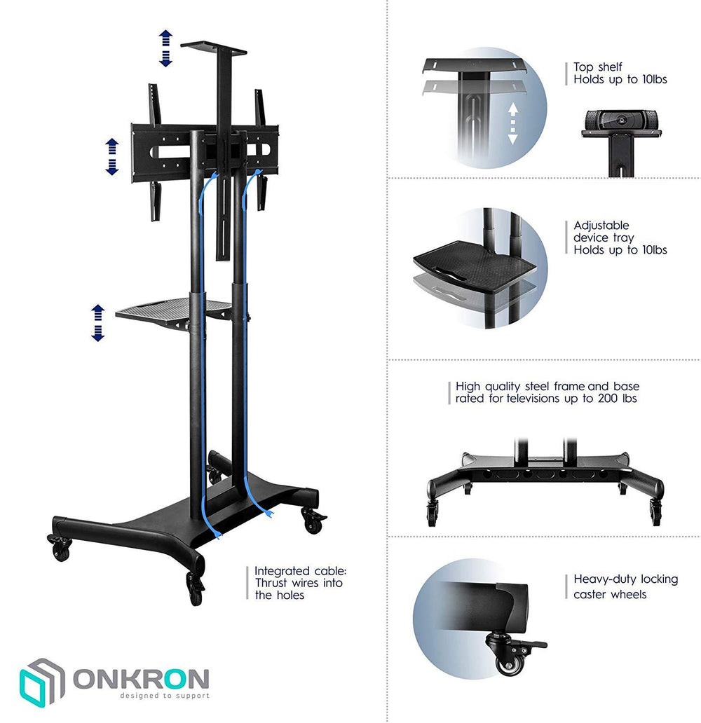 ONKRON Mobile TV Stand TV Cart for 50''– 83'' screens up to 200 lbs Universal TV Cart with Wheels TS1881 Black