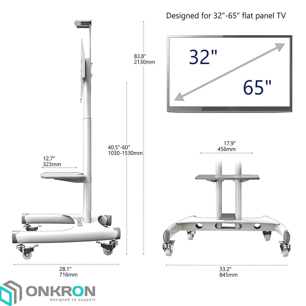 "Onkron Mobile Universal TV Cart TV Stand w/Mount for Most 32"" to 65"" Flat Screens up to 100 lbs, TS15-61 White"
