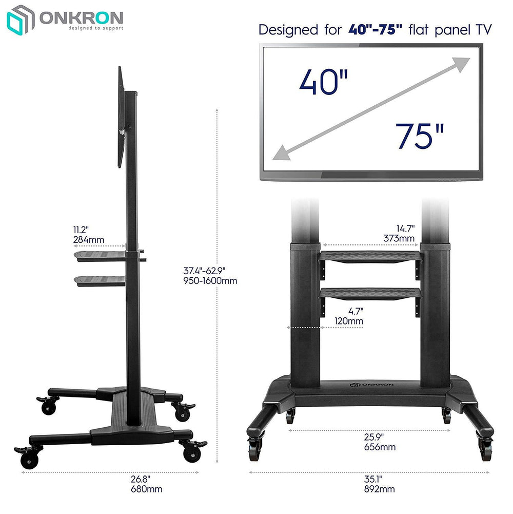 "Onkron Mobile TV Cart TV Stand w/Mount for Most 40"" to 75"" Flat Screens up to 100 lbs TS27-71 (Black)"