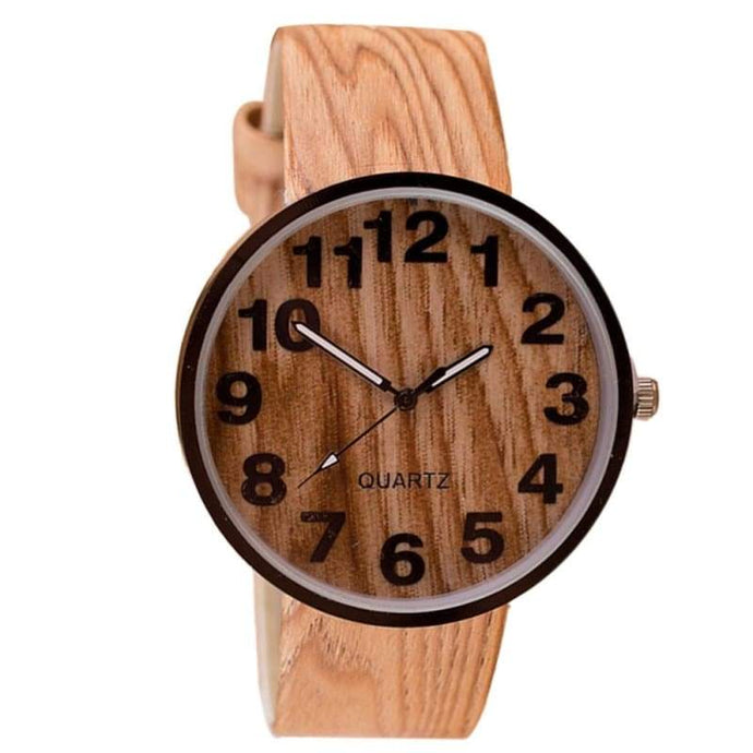 Grain Leather Quartz Watch - Wooden