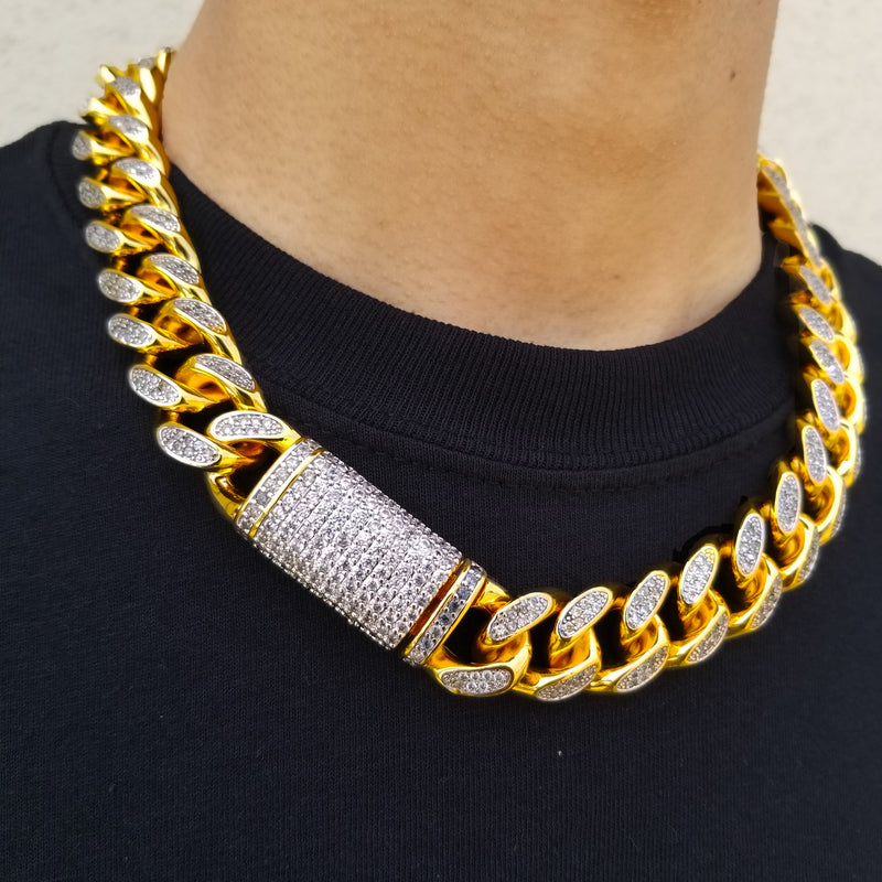18k Gold Plated 19mm Thick Mens Miami Cuban Link Chain Necklace With C Dfwjeweler