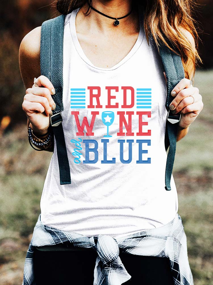 Red Wine And Blue Tank