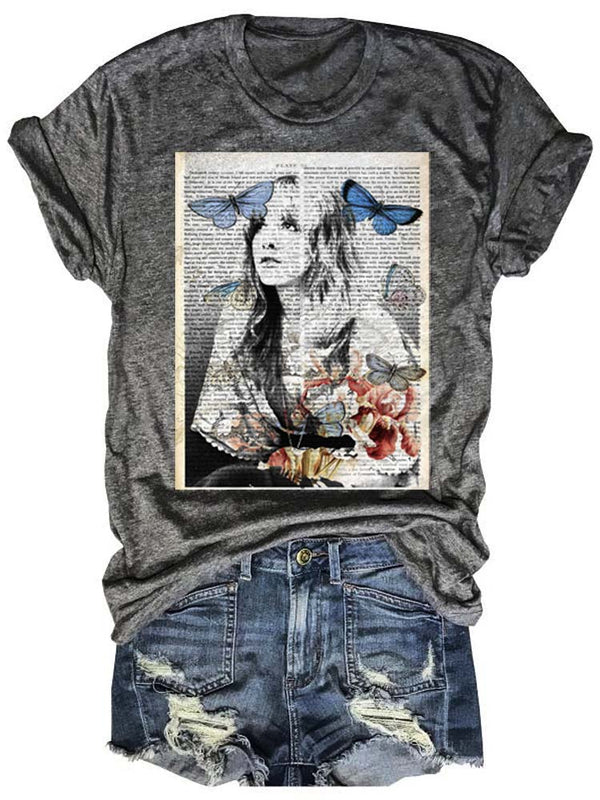 Stevie Nicks Book Page Vintage Print Tee