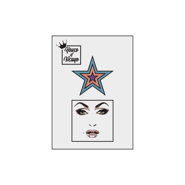 FACE AND STAR ENAMEL PIN SET