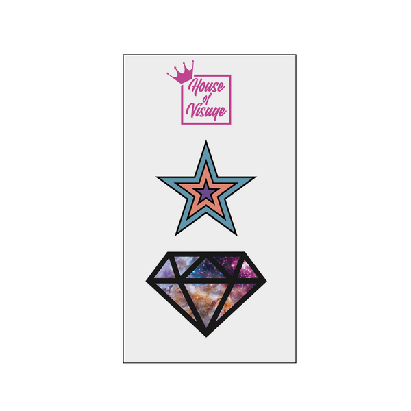 STAR AND DIAMOND TATTOO SET