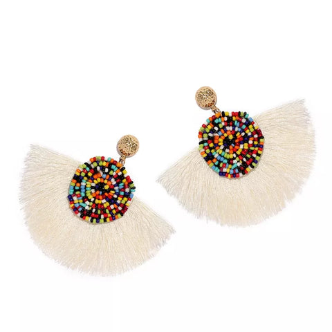 Summer - Multicolor beaded tassel earrings