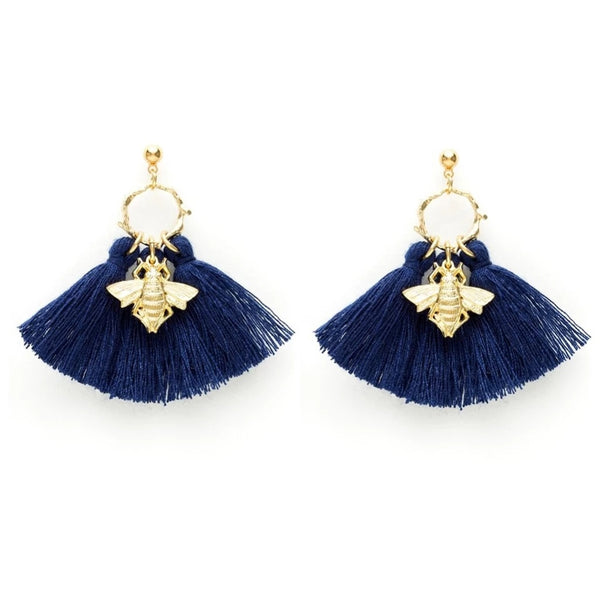Navy Bee Tassel Earrings