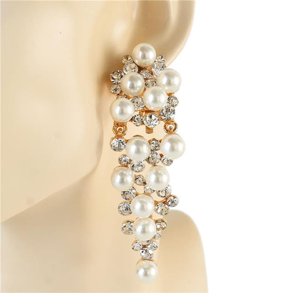 Vintage Waterfall - Pearl Clip-On Earring