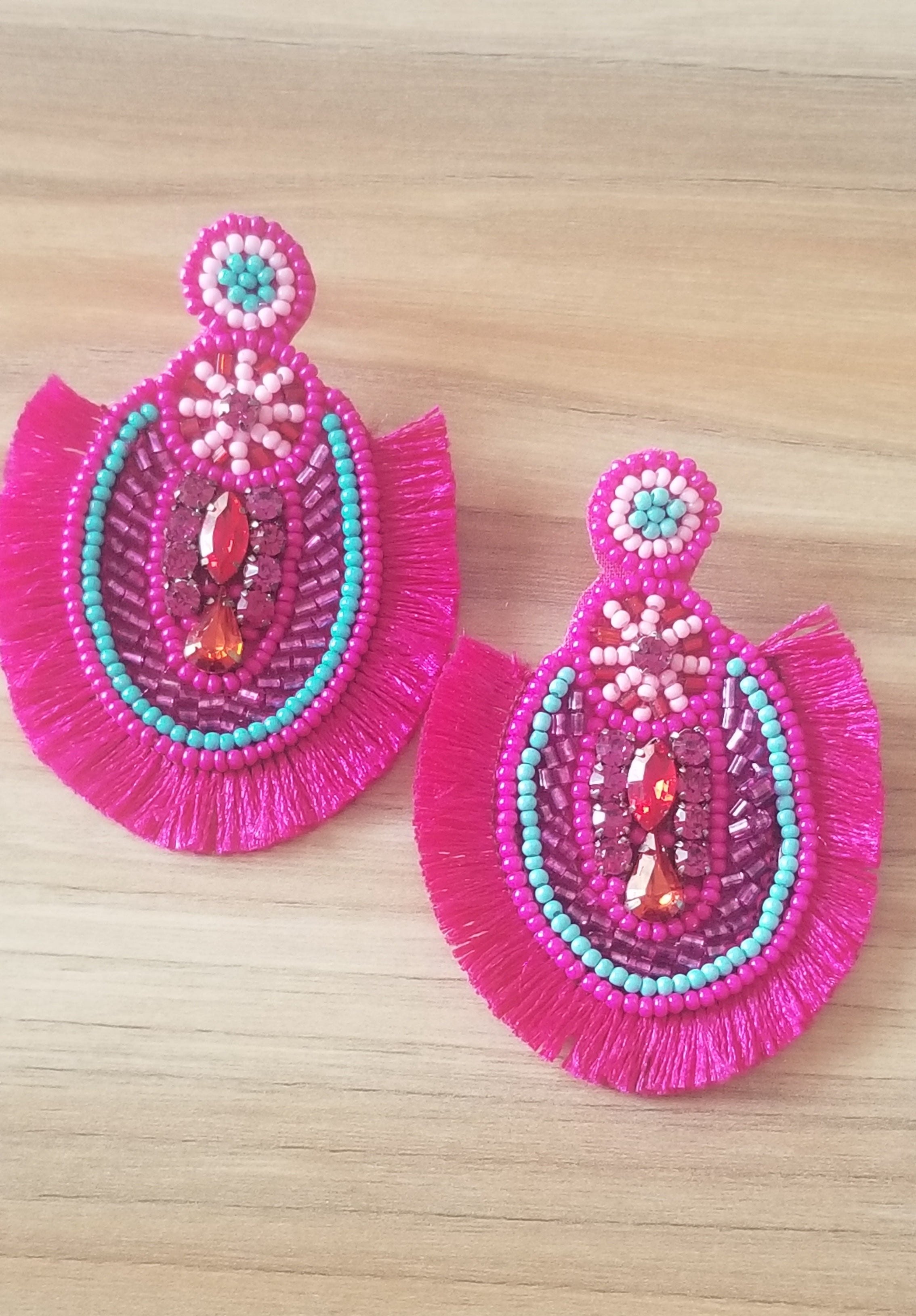 Hina Multicolored Seed Beaded Earrings with Fringes