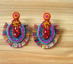 Load image into Gallery viewer, Hina Multicolored Seed Beaded Earrings with Fringes