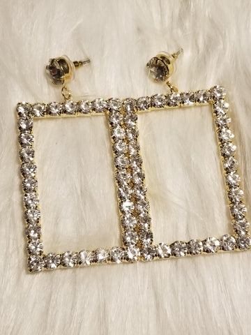 My Rhinestone Frame Earrings