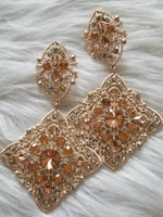 Load image into Gallery viewer, Crystal Rose Clip-On Earrings