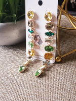 Load image into Gallery viewer, Green Glam Statement Earrings