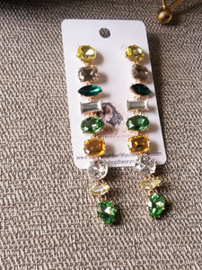 Green Glam Statement Earrings