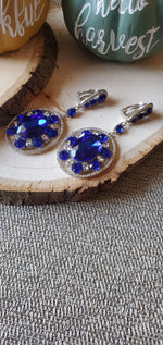 Load image into Gallery viewer, Jasmine Blue Clip-On Earrings