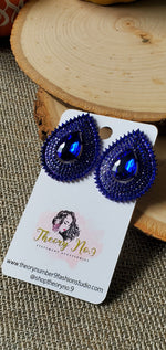 Load image into Gallery viewer, Faith Royal Blue Teardrop Clip-On Earrings