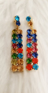Color-Block Rhinestone Drop Earrings