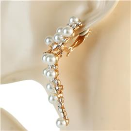 Vintage Pearl Waterfall Clip-On Earrings