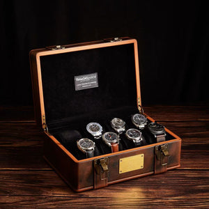 8 Slot Real Leather Watch Storage Box