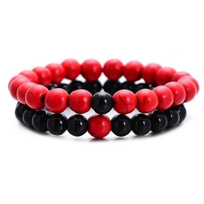 2Pcs/Set Couples Distance Bracelet Classic Natural Stone White and Black Yin Yang Beaded Bracelets for Men Women Best Friend Hot Streetwear Clothing Raikago