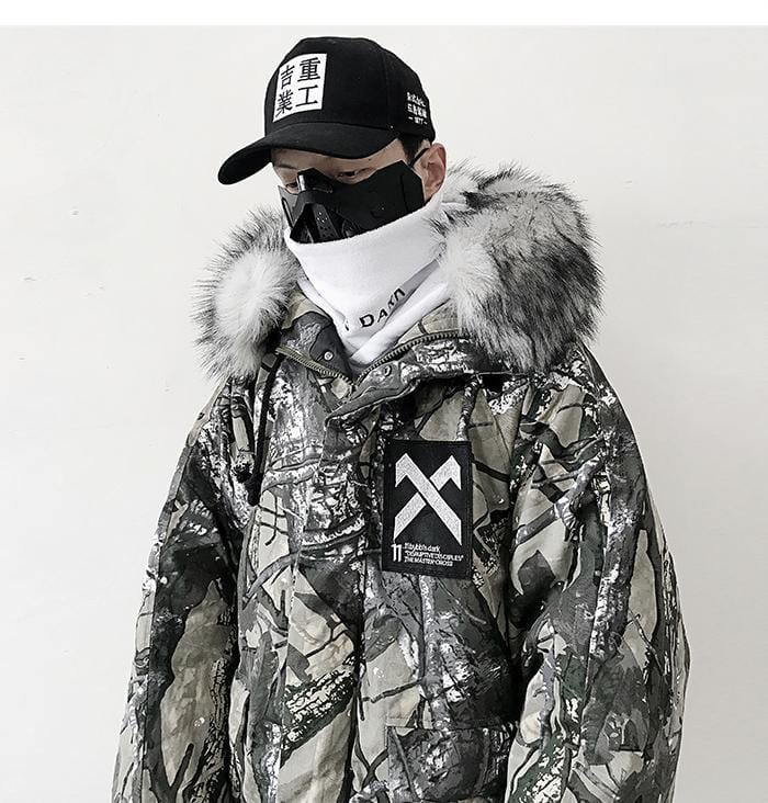 AELFRIC Hip Hop Men Hooded Parkas Jacket 2019 Branch Camouflage Harajuku Tops Casual Streetwear Men Winter Thick Coats Outerwear Streetwear Clothing Raikago