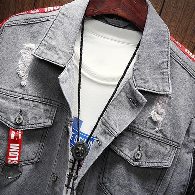 """Aita"" Denim Blue Jacket Streetwear Clothing Raikago"