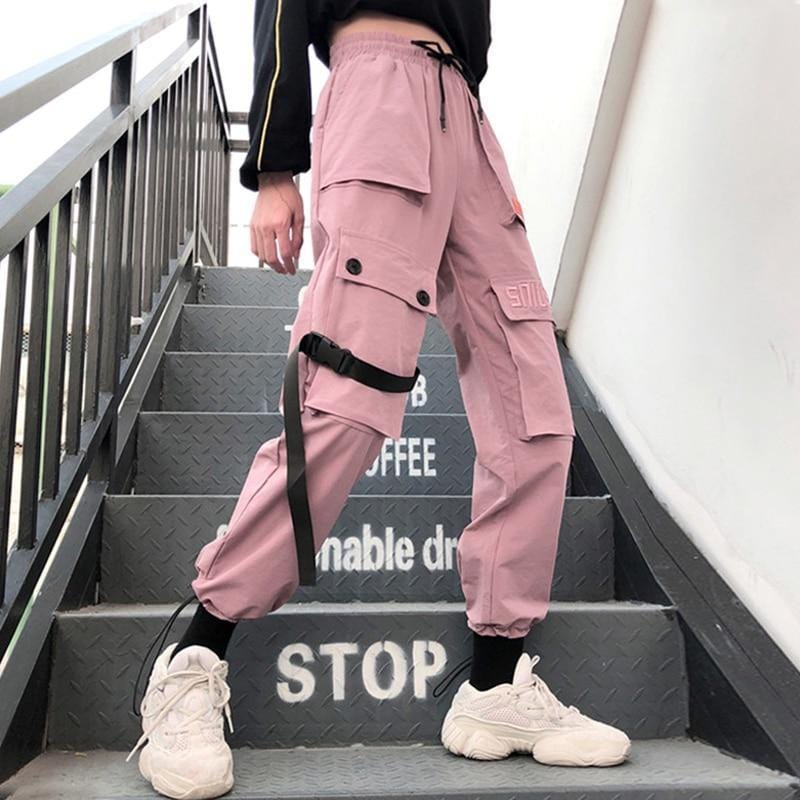 Autumn Streetwear women's pants embroidery Casual Cargo Pants Women Joggers Solid Big Pocket Pants High Waist Loose Female Pants Streetwear Clothing Raikago