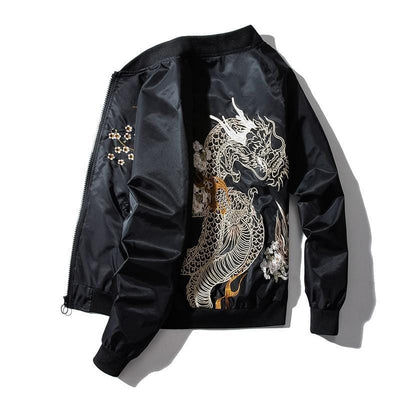 Black Dragon Sukajan Japanese Jacket Streetwear Clothing Raikago