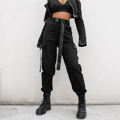 Black High Waist Cargo Streetwear Clothing Raikago