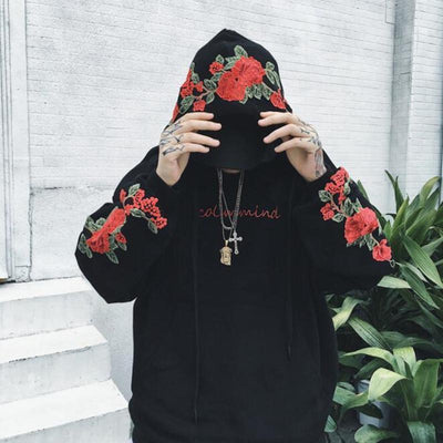 """Blood Rose"" Embroidered Hoodie Streetwear Clothing Raikago"