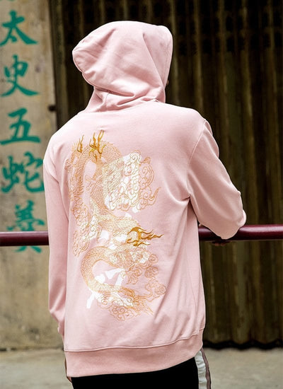 """Chinese Dragon"" Embroidery Hoodie Streetwear Clothing Raikago"