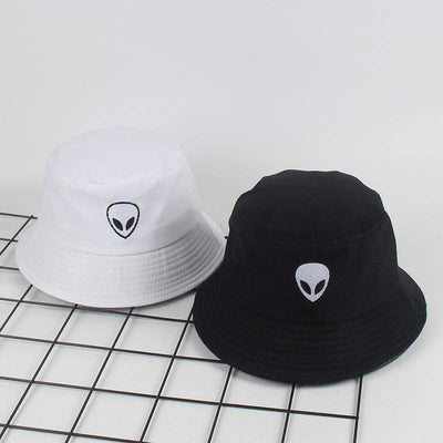 Embroidery Aliens Bucket Hat For Women Men Streetwear Clothing Raikago
