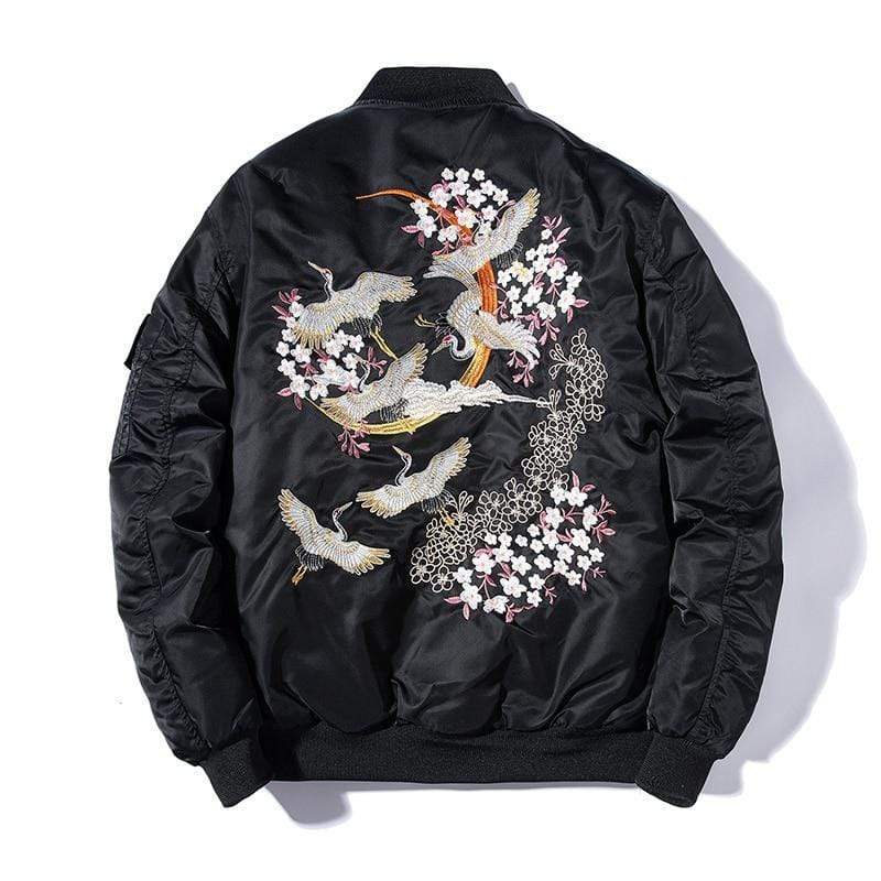 Embroidery Bomber Japanese blossom cranes