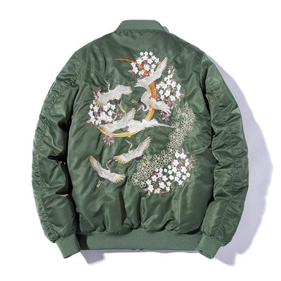 Embroidery Bomber Japanese blossom cranes Streetwear Clothing Raikago