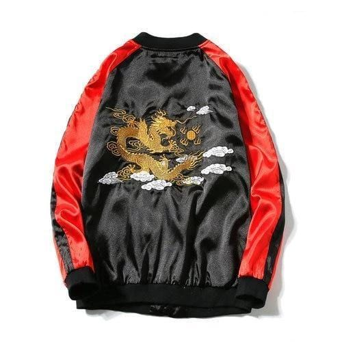 Blue and Gold Sukajan Japanese Bomber Jacket