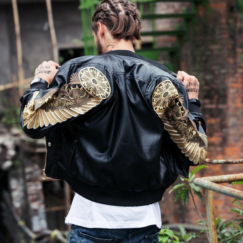 Gold Wings Embroidery Motorcycle Jacket Streetwear Clothing Raikago