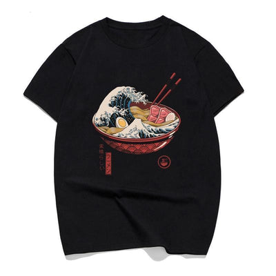 Great Ramen Wave T-Shirt Cartoon Funny T Shirts Anime Japanese Pop Style Streetwear Black T Shirt Men/women Ramen Noodles Shirts Streetwear Clothing Raikago