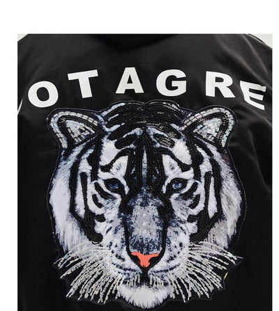 """Howaitotaigā"" White Tiger Jacket Streetwear Clothing Raikago"