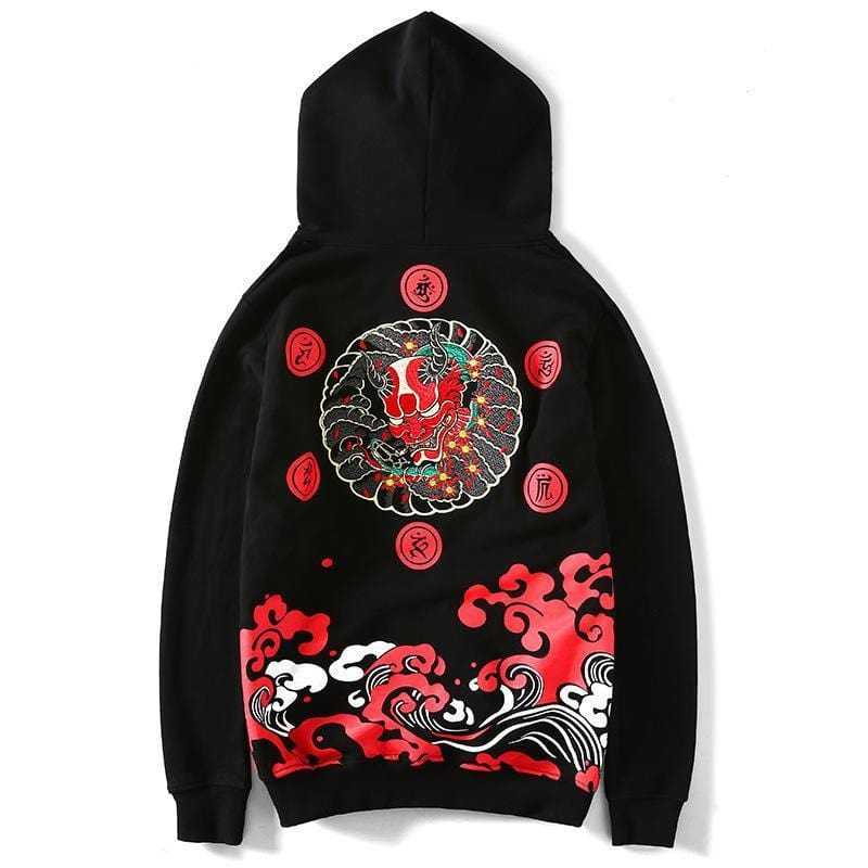 "Japanese Style Embroidery ""Devil"" Hoodie"