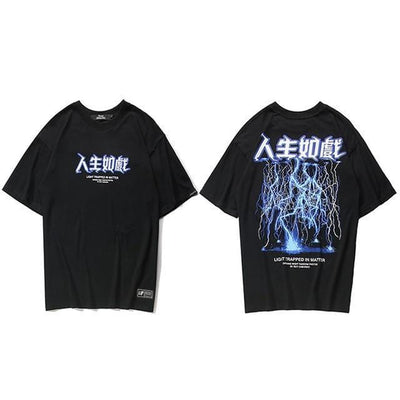 """Lightning Strike"" Graphic Print T-Shirt Streetwear Clothing Raikago"