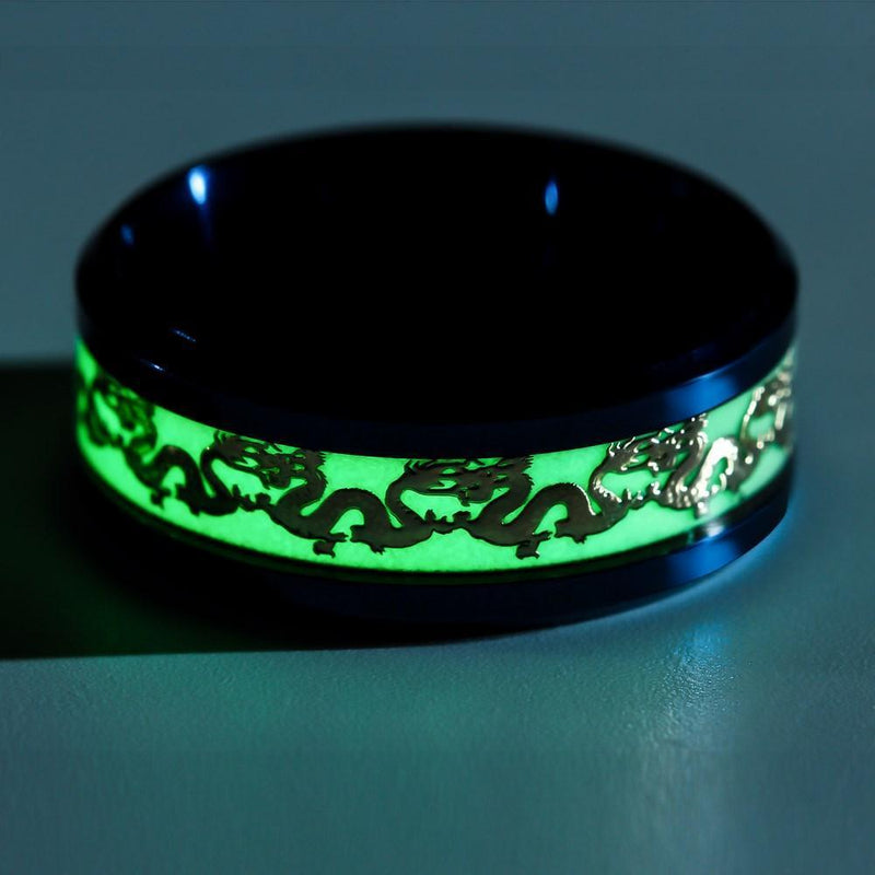 """Luminous Dragon"" Steel Ring"