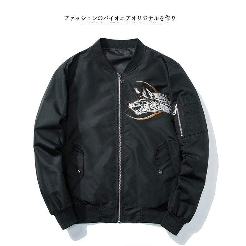 """Midnight Wolf"" Bomber Jacket"