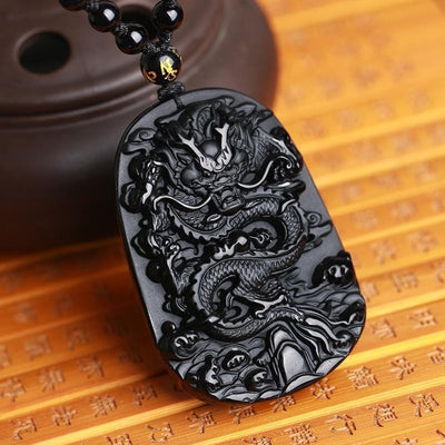 Natural Black Obsidian Dragon Drop Necklace Streetwear Clothing Raikago