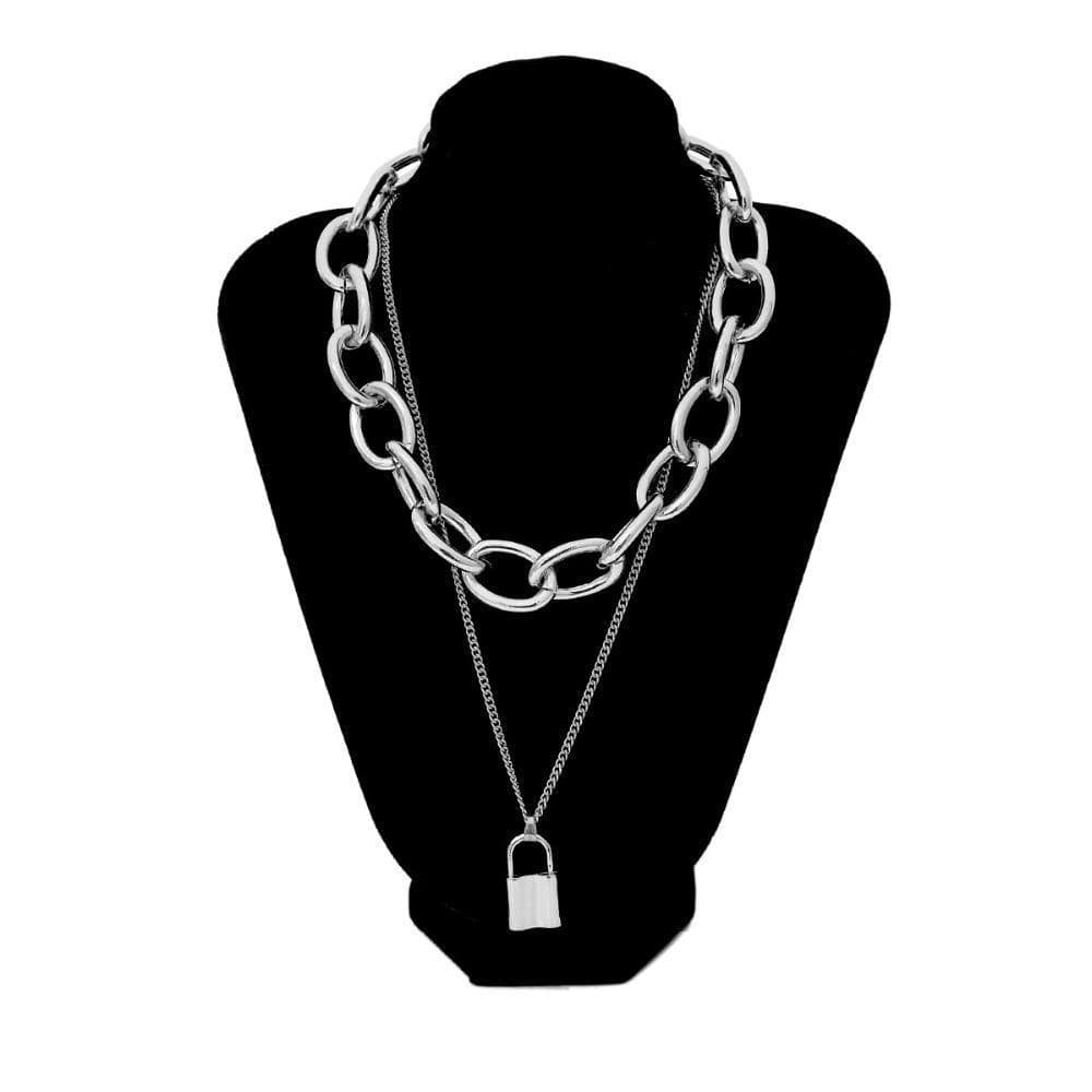 PadLock chain necklace women men chunky chain with lock Pendant Necklaces punk Hiphop 2019 fashion gothic jewelry Streetwear Clothing Raikago