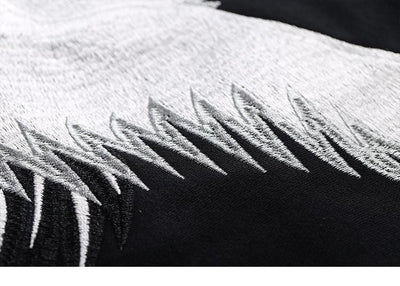 """Red Crowned Crane"" Embroidery Hoodie Streetwear Clothing Raikago"