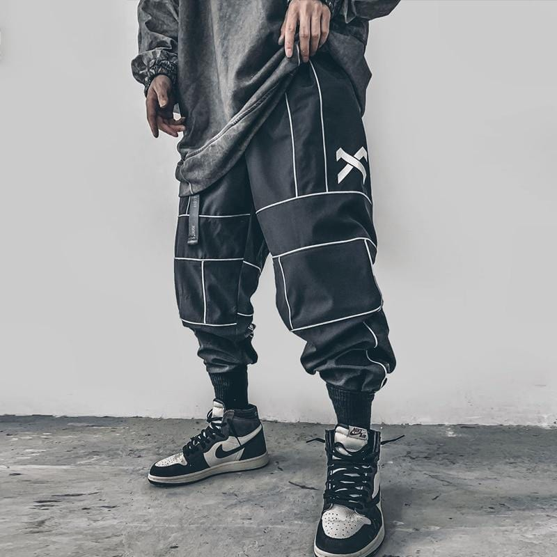 Reflective Techwear Black Pants For Men Streetwear Clothing Raikago