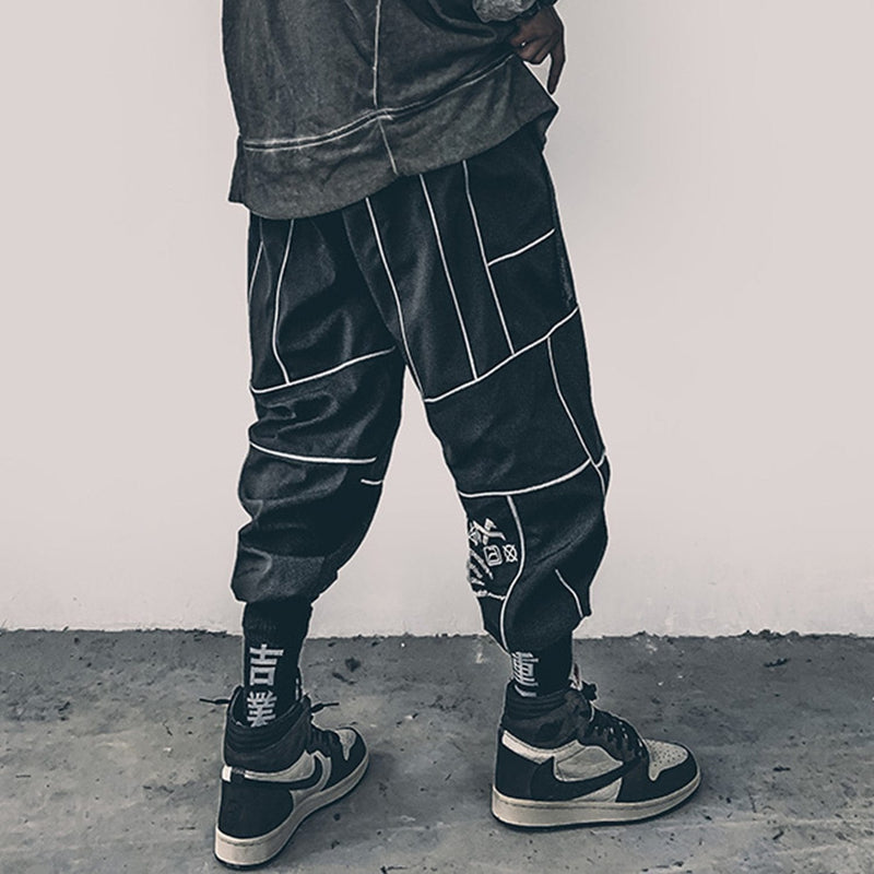 Reflective Techwear Black Pants For Men